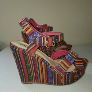 Breckelles Mexican Style Platform Wedge Sandals